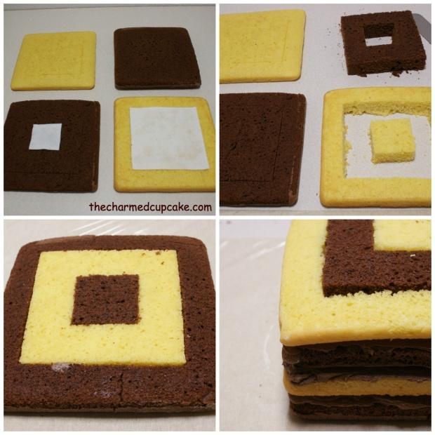 assembling cake