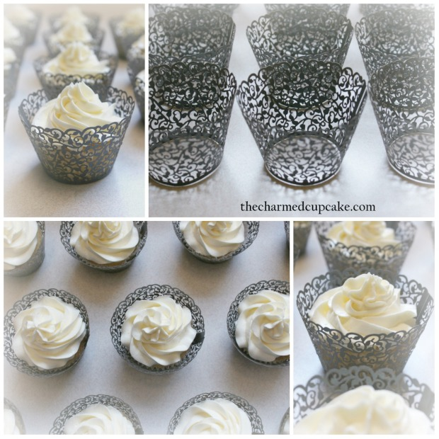 collage black lace and cupcakes