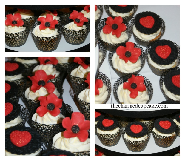 Red accessory cupcakes