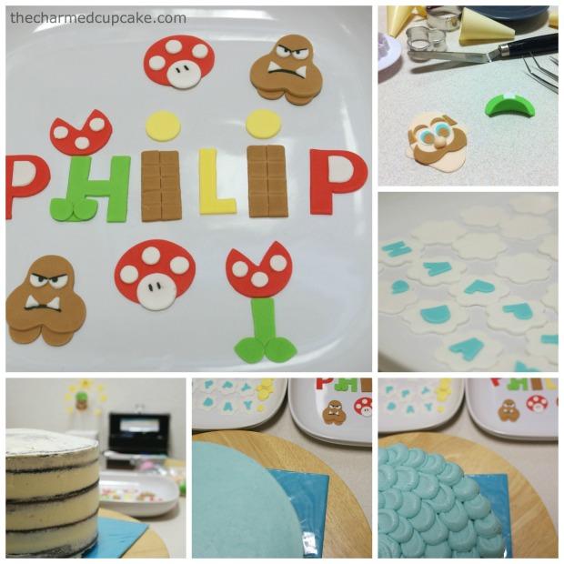 the making of the Luigi cake